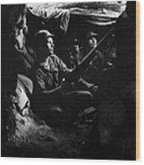 Infantrymen Take Advantage Of Cover Wood Print