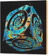 Infinity Time Cube On Black Wood Print