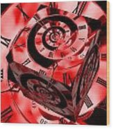 Infinity Time Cube Red Wood Print