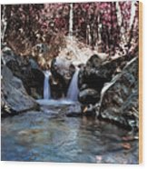 Infrared Waterfall Wood Print