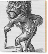 Injured Lion, Conceptual Artwork Wood Print