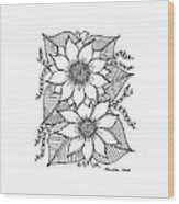 Ink Sunflower Wood Print