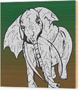 Inked Elephant In Green And Brown Wood Print