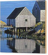 Inlet At Peggys Cove Nova Scotia Wood Print