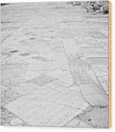 Inscription In The Floor Tile Of The Gymnasium Stoa Ancient Site Salamis Famagusta Wood Print by Joe Fox