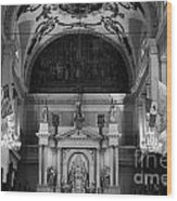 Inside St Louis Cathedral Jackson Square French Quarter New Orleans Black And White Wood Print