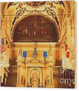 Inside St Louis Cathedral Jackson Square French Quarter New Orleans Film Grain Digital Art Wood Print