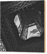 Inside The Eiffel Tower Wood Print
