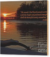 Inspirational Sunset With Quote Wood Print
