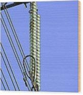 Insulators On An Electricity Pylon Wood Print by Paul Rapson