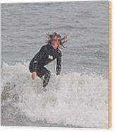 Intense Surfer Wood Print
