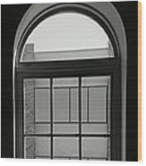 Interior - Windows In Black And White Wood Print