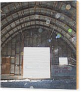 Interior Of Abandoned Farm Equipment Shed Wood Print by Paul Edmondson