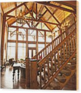 Interior Of Large Wooden Lodge Wood Print
