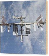 International Space Station Backdropped Wood Print