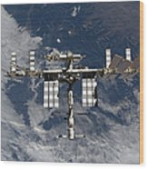 International Space Station Backgropped Wood Print