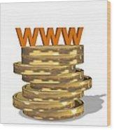 Internet Shopping, Conceptual Image Wood Print