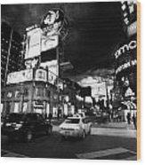 Intersection Of Yonge And Dundas At Night Yonge-dundas Square Toronto Ontario Canada Wood Print
