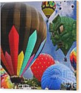 Into The Great Blue Sky - Hot Air Balloon Ride - Hot Air Balloons - Warren County Fair Wood Print