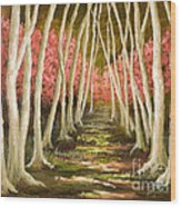 Into The Woods-series With Gold Leaf By Vic Mastis Wood Print