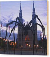 Invasion Of The Black Spider Wood Print