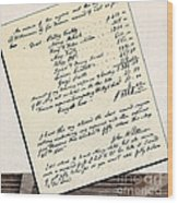 Invoice Of A Sale Of Black Slaves Wood Print