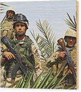 Iraqi Soldiers Conduct A Foot Patrol Wood Print