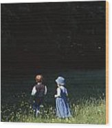 Ireland Children In A Field Wood Print by The Irish Image Collection