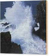 Ireland, Waves Crashing On Rocks Wood Print