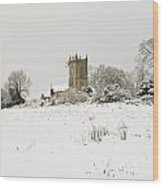 Ireland Winter Landscape With Church Wood Print