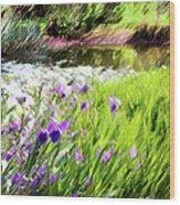 Iris And Water Wood Print