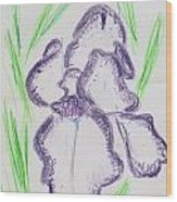 Iris Outlined Wood Print