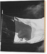 Irish Tricolour Flag With Frayed Edges Flying In Republic Of Ireland Wood Print by Joe Fox
