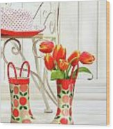 Iron Chair With Little Rain Boots And Tulips  Wood Print