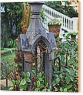 Iron Post Wood Print by Perry Webster