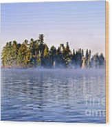 Island In Lake With Morning Fog Wood Print