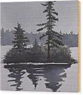 Island Reflecting in a Lake Wood Print