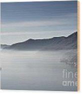 Islands On A Foggy Lake Wood Print
