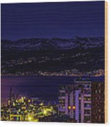 Istrian Riviera At Night Wood Print