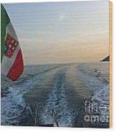 Italian Flag On Boat Off Amalfi Wood Print