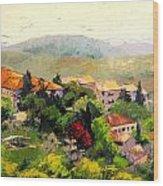 Italian Hillside Village Oil Painting Wood Print