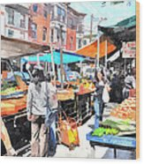 Italian Market Wood Print by Andrew Dinh