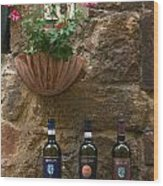 Italian Wine And Flowers Wood Print