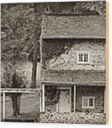 Ivy Covered Farmhouse Wood Print