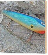J And J Flop Tail Vintage Saltwater Fishing Lure - Blue Wood Print