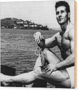 Jack Lalanne Before Handcuffed Swim Wood Print by Everett