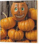 Jack-o-lantern On Stack Of Pumpkins Wood Print