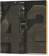 Jackie Robinson 42 In Sepia Wood Print