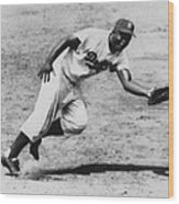 Jackie Robinson, Fielding Third Base Wood Print