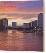 Jacksonville Skyline At Dusk Wood Print by Debra and Dave Vanderlaan